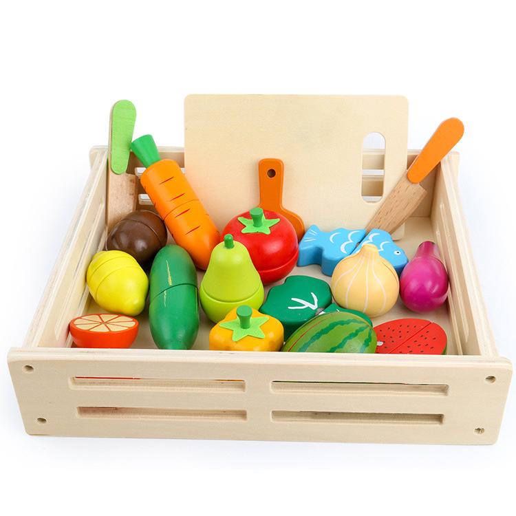 Diy Role Play Kids Pretend Preschool Game Kitchen Wooden Fruit Cutting Toy