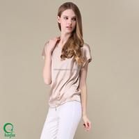 Silk Short Sleeve Plain Summer Blouse For Women In 2016