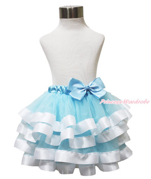 Blue White Princess Cinderella Satin Trimmed Tutu Baby Girl Pettiskirt NB-8Year