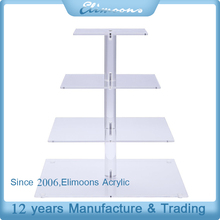 Custom 4 Tiers Detachable Square Acrylic Supplie Cake Stand/Transparent Plastic Birthday Party Cake Display Holder
