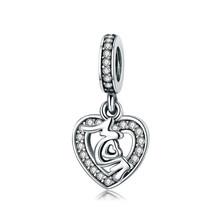 2019 подарок на день матери, серебро 100% 925 пробы, подходит к оригиналу Pandora, модный браслет Love Mother Charm, красный и прозрачный CZ бисер(Китай)