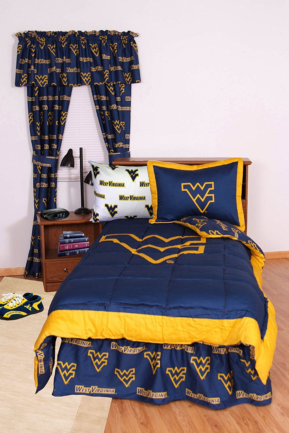 "West Virginia Mountaineers (2) Piece Twin Reversible Comforter Set and One Matching Window Valance/Drape Set (Drape Length 63"") - Entire Set includes: (1) Twin Reversible Comforter, (1) Standard Pillow Sham and (1) Matching Window Valance/Drape Set - Drape Length 63""- Save Big By Bundling!"