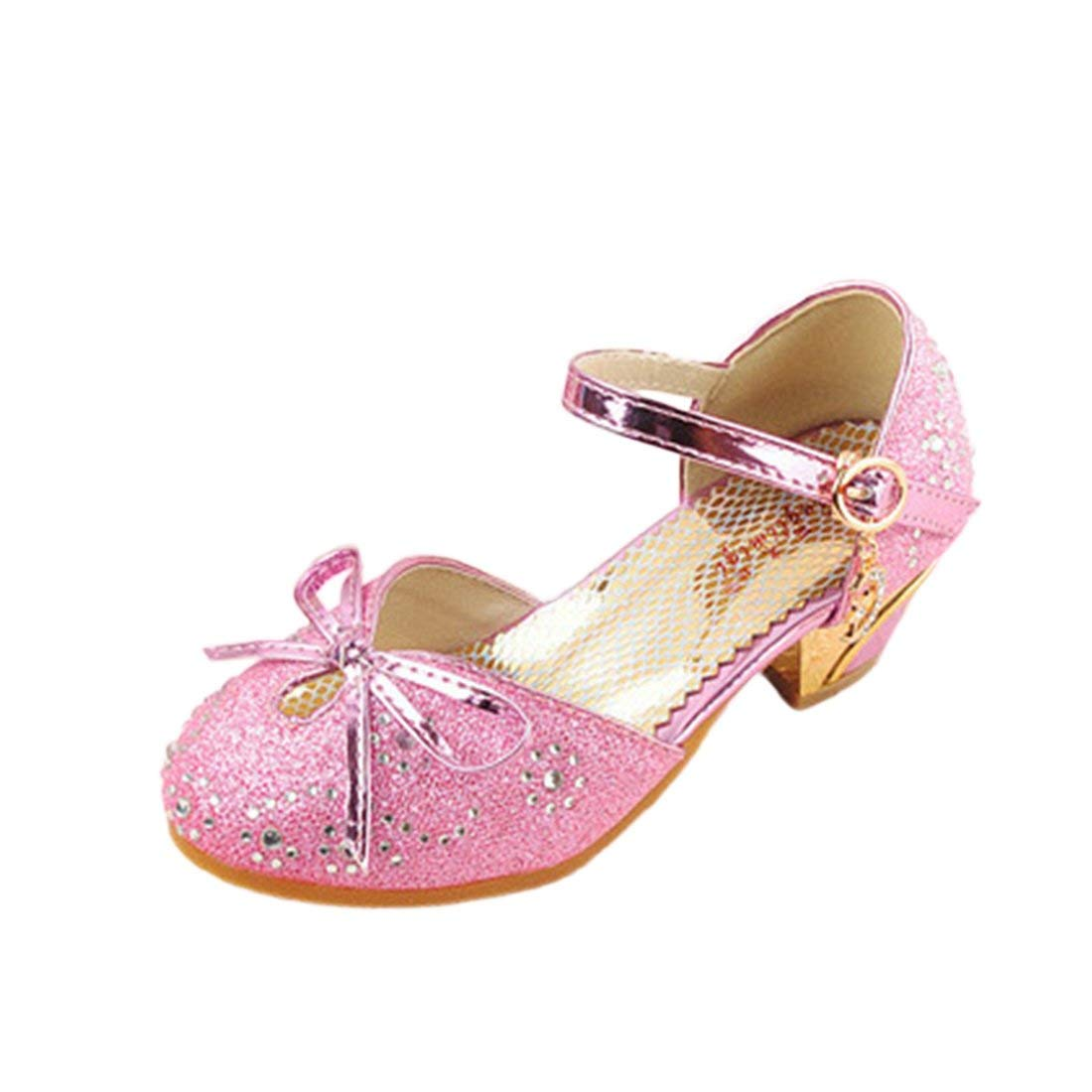 YIBLBOX Girls Kids Toddler Dress up Wedding Cosplay Princess Shoes Glitter Mary Jane Low Heel Shoes