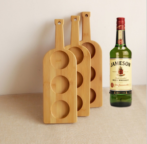 Process hole shape 3 bottles of wine tasting eco friendly bamboo flying type service beer cup tray