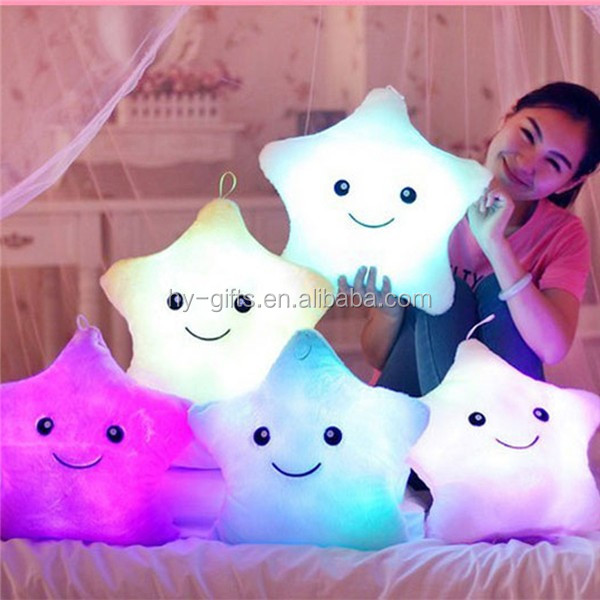 sleeping body cotton pillow led flashing star shape pillow led lighted