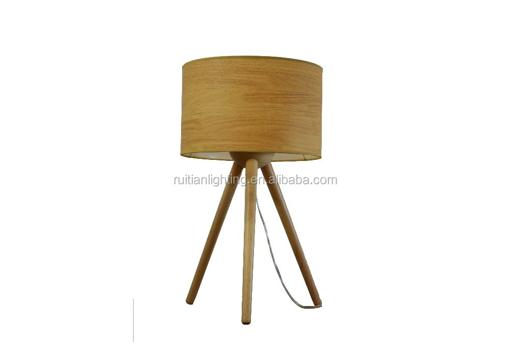 Children Tripod Wooden Table Lamp With Fabric Shade Round Edges Safe For Kids Desk Legs