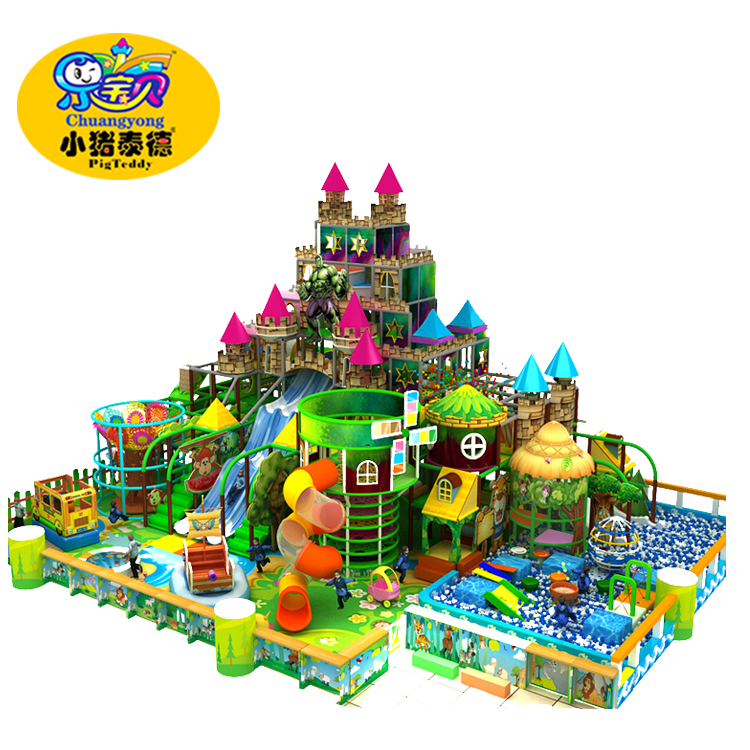2017 new design indoor playground castle themed naughty castles