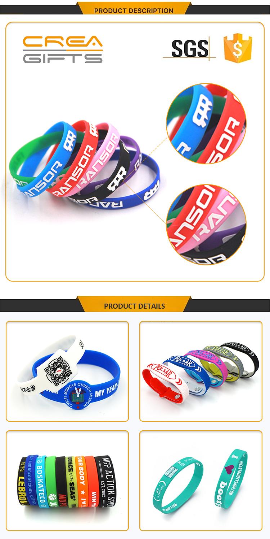Wholesale Eco-friendly Brand Promotional Silicone Cheap Custom logo silicon bracelet