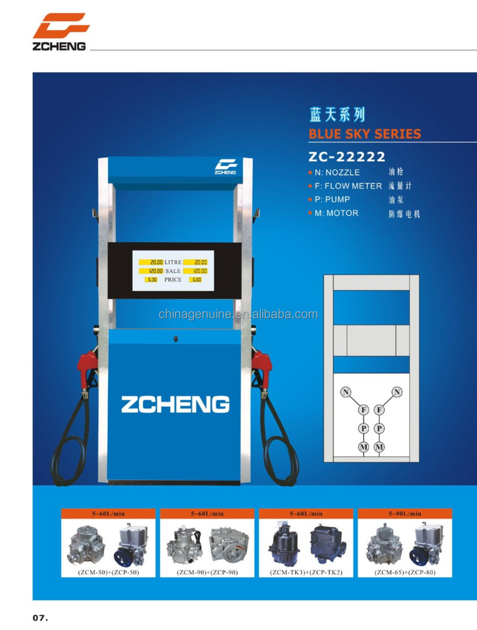 Blue Sky Tokheim Suction Fuel Dispenser For Gasoline,Diesel Oil ...
