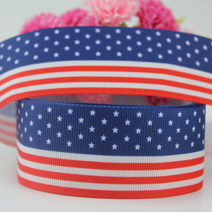 75MM July 4th Ribbon Printed red blue white flag Grosgrain Ribbon