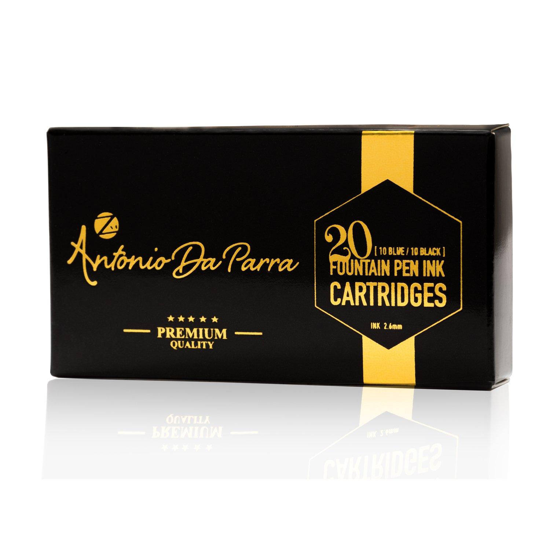 Antonio Da Parra (TM) Fountain Pen Ink Refill Cartridges - Premium Quality - Pack of 20 ( 10 Blue and 10 Black ) International Standard Size Calligraphy Pens - Perfect Set