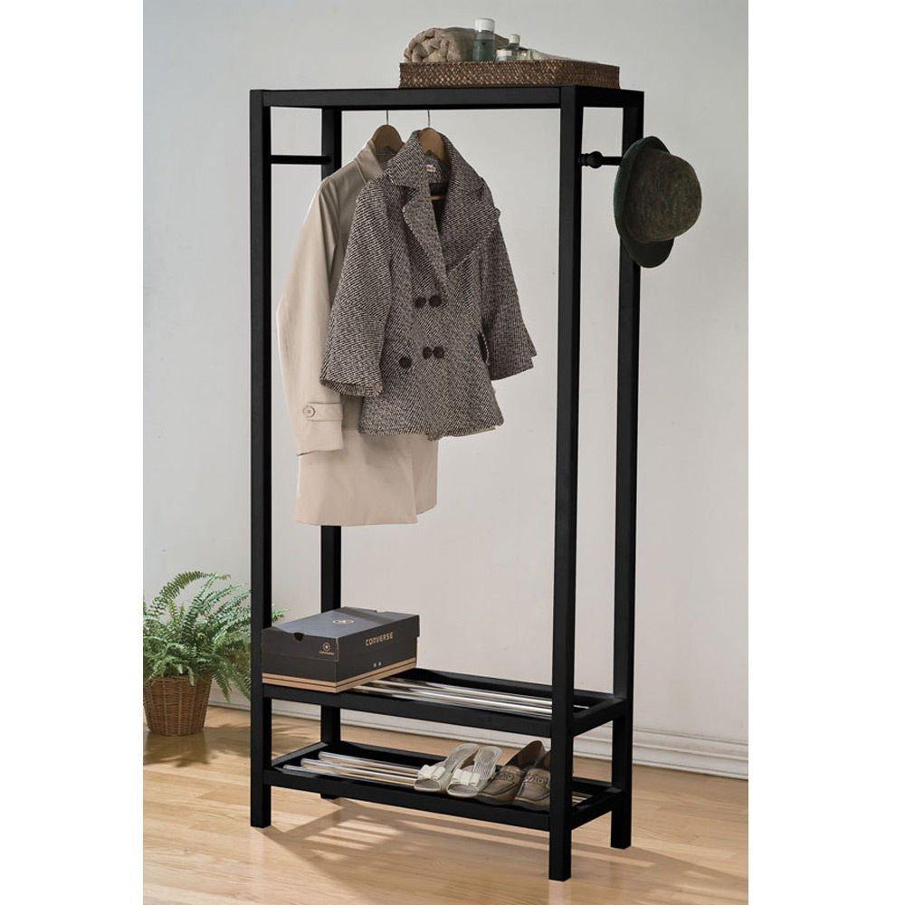 1PerfectChoice Maeve Clean Lines Black Wood Clothing Coat Hat Rack Garment Shoe Storage Shelves