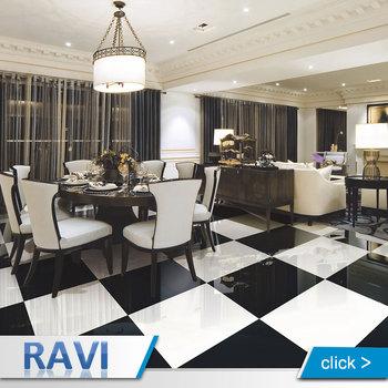 High Gloss Non Slip Black And White Polished 600x600 Porcelain Floor