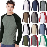 Cotton Polyester Plain Contrast Colors Basic Baseball Tee Shirts Wholesale