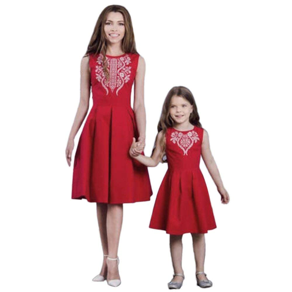 44277c991a9 Get Quotations · Hongxin Clearance Mom Me Summer Dress Mom And Daughter  Floral Print Sleeveless Flower Dresses Evening Party Family