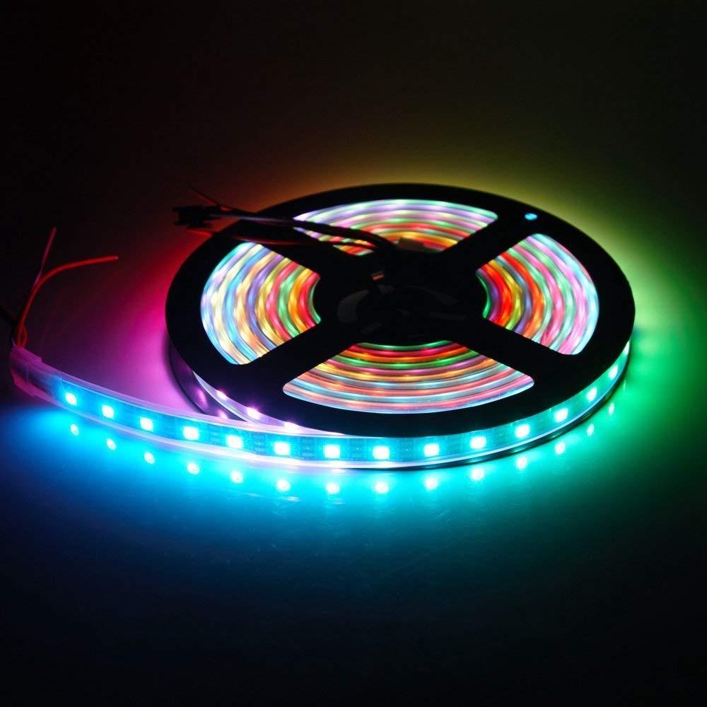 Led Strip Lights Waterproof IP67 5M 16.4Ft 60LEDs/M 300leds Dream Color PCB Black WS2812B LED Strip TARGOPOP