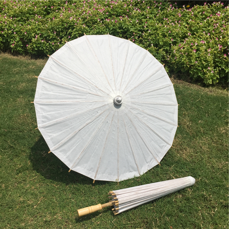 PoeticExst out door wedding favors Diameter 23.6 inches long straight plain white Chinese paper parasols for children