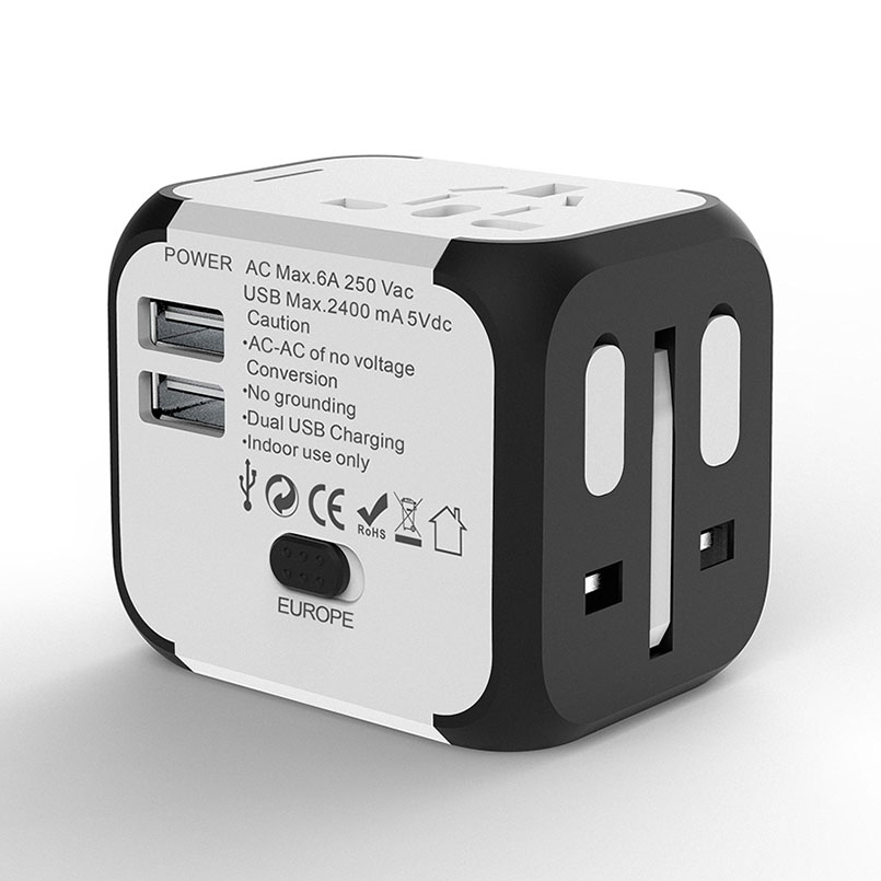 SL-176 universele converter 5 v 2A dual usb charger travel power adapter EU US AUS UK muti plug muur ac /dc adapter