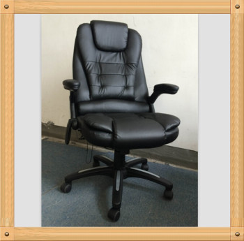black brown pu leather chair office recliner reclining heated massage