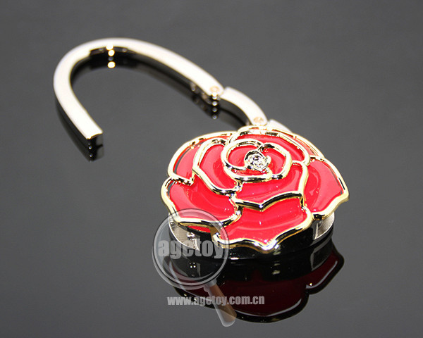 Portable Foldable Crystal Alloy Purse Handbag Hook Hanger Bag Holder Red Rose Shape Metal Garment Bag Hook