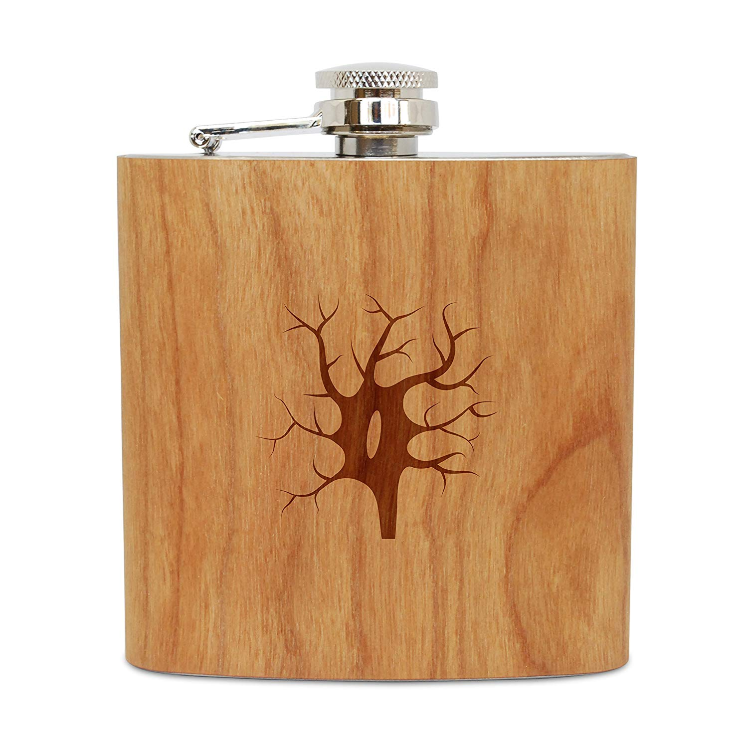 WOODEN ACCESSORIES COMPANY Cherry Wood Flask With Stainless Steel Body - Laser Engraved Flask With Spindle Neuron Design - 6 Oz Wood Hip Flask Handmade In USA