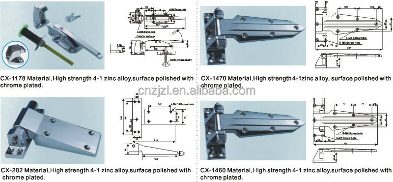 Cold Room Door Hinge, Zinc Alloy Refrigerator Hinges Latches