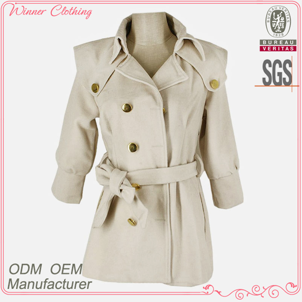 Autumn Winter Fashion long sleeve open collar double breast models wool coats for woman