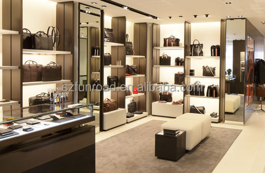 High Quality Modern Leather Bag Showcase For Bags Shop Interior Design Retail Handbags Store