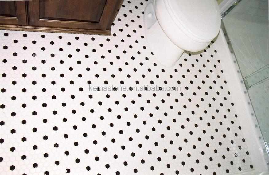 Bathroom Mosaic Porcelain Flooring Black And White Hexagon Tile Buy Black A