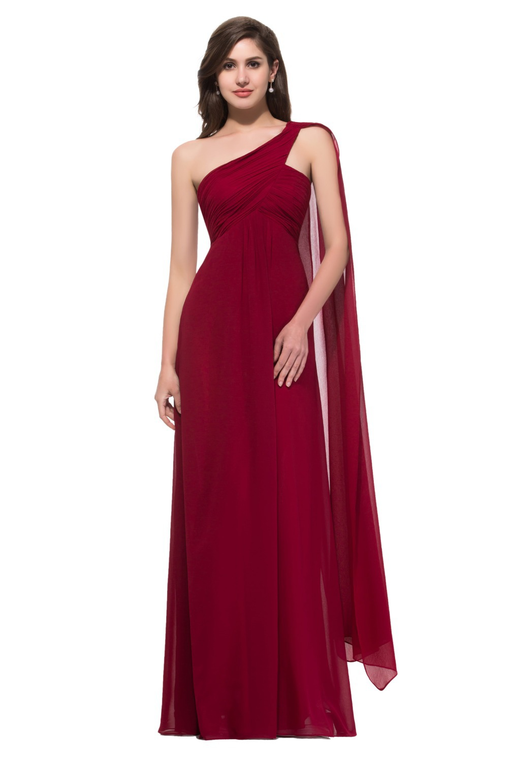 Elegant Style Grace Karin One Shoulder Dark Red Prom Dresses Floor Length Long Cheap Prom Gown With Streamer Chiffon CL008909