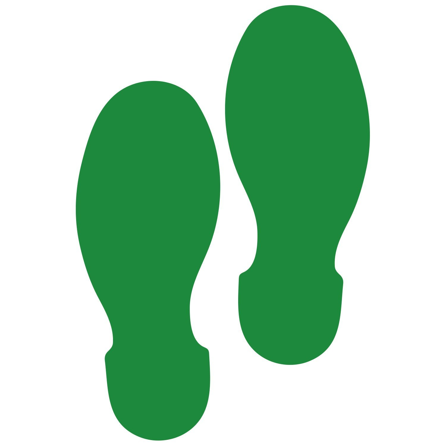 LiteMark 9 Inch Green Shoe Print Decal Stickers for Floors and Walls - Pack of 12 (6 Pairs)
