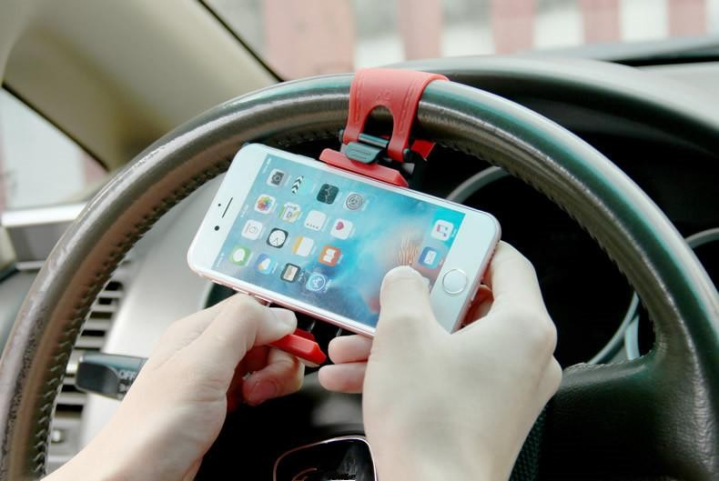 Universal Auto Car Steering Wheel Phone Holder For Iphone Flexible Universal Mount Bracket Clip GPS Car Phone free DHL