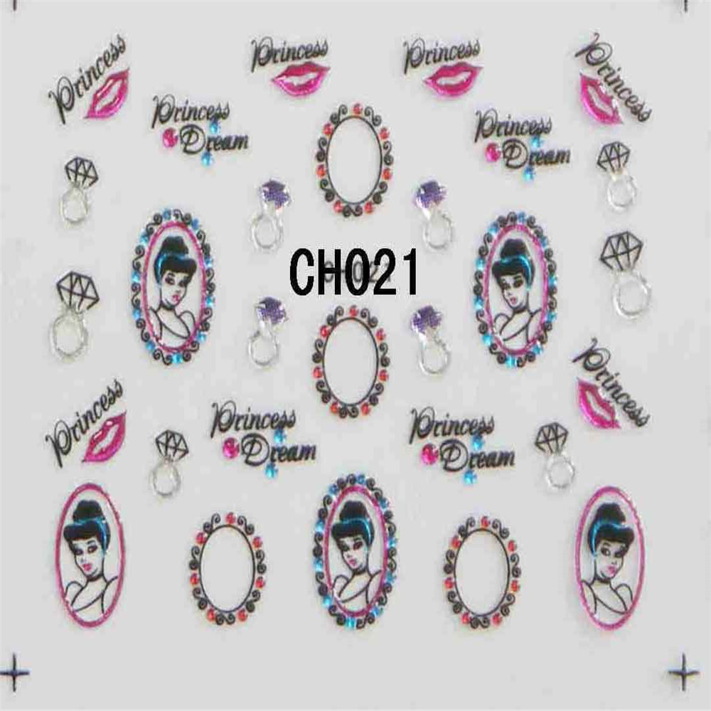 Colorful Cartoon Crystal design 3D whosale nail art sticker