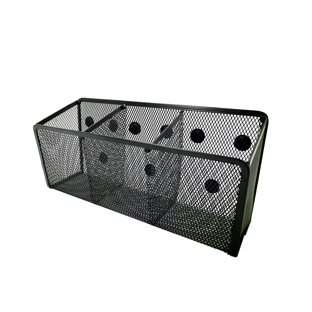 Wideny Stationery Black Wall Mounted Wire Mesh Metal Magnetic Storage Baskets For Pen