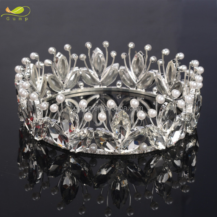 Bridal Tiaras Crystal Crowns Pageant Bridal Wedding Pearl Headpiece
