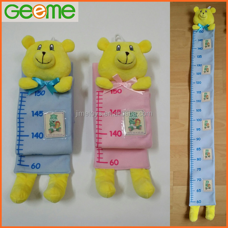 JM9090 Plush Kids Height Growth Chart Ruler with Bear Head