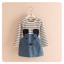 Children's Clothing Wholesale 2015 Autumn New Girls Stripe Cartoon Dress Girl Kids Denim Dress