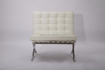 Bauhaus Style Barcelona Chair White Leather Replica