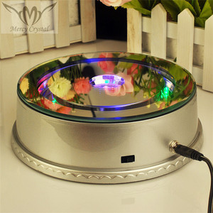 Rotating Music Sliver Round LED Base for Crystal Piano Model Birthday Gifts