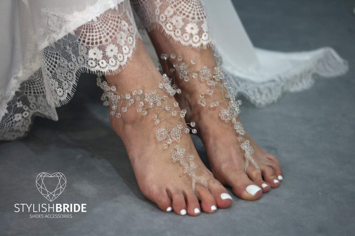 Crystals Barefoot Sandals, Barefoot Pearl Beach Sandals, Beach Pearl Wedding Barefoot Sandal, Women Barefoot Sandals, footless sandal