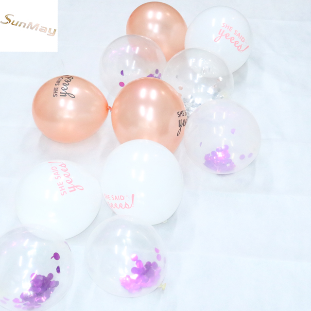 Top selling popular transparent confetti balloons wholesale gold confetti balloons