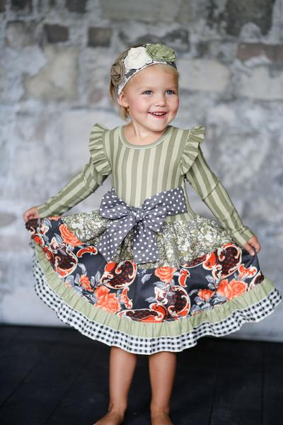 Giggle Moon hot sell ribbon bow tripe ruffle flutter sleeve swing top sets dress boutique clothing for girls