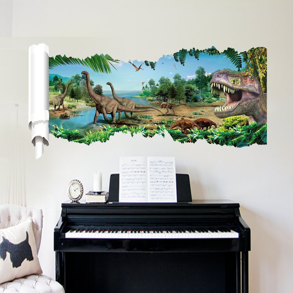 90*50 Cm Dinosaur Paradise Creative 3d Removable PVC Wall Sticker Home Decor Bedroom Sticker Wall Paper Decals for Kid's Room