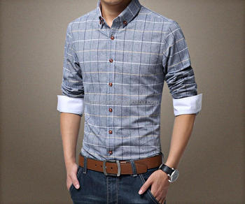 2018 New Style Slim Fit Pure Cotton Men S Plaid Casual Shirts Buy