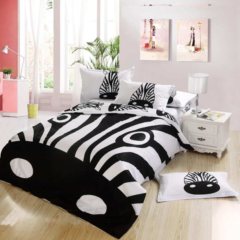 Black And White Zebra Print Kids Bedding Bedroom Set King