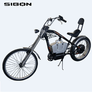 SIBON 36v 500W brushless motor lithium battery fat tire black adult electric bicycle chopper