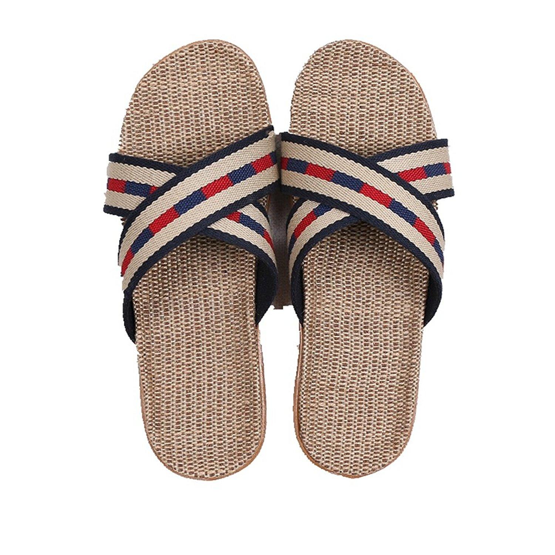 CYBLING Comfort Summer Men Women Linen House Slippers Lightweight Open Toes Slip On Indoor Slipper