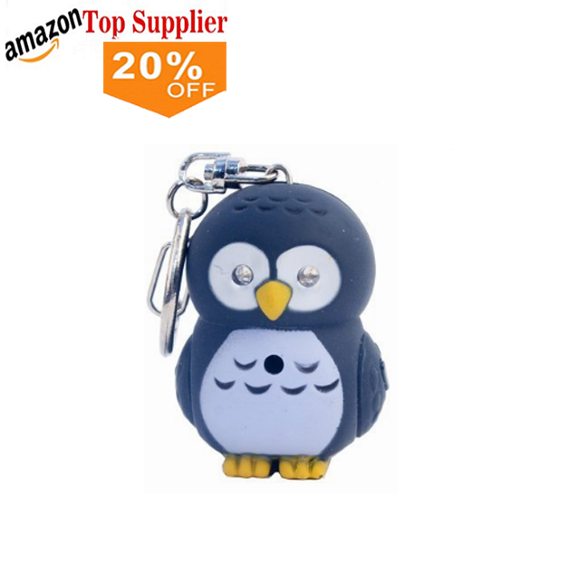 Amazon bestseller LED Cartoon Tier Keychain Nette eule Schlüsselanhänger mit Sound LED Taschenlampe Spielzeug Keychain