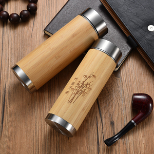BPA-Free Stainless Steel Water Bottle Original Bamboo Fiber Water Bottle Tumbler with Tea Infuser Insulated Coffee Travel Mug