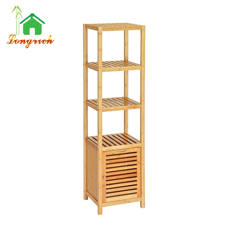 5 Tier Shelf Bamboo Bathroom Towel Storage Rack with Cabinet